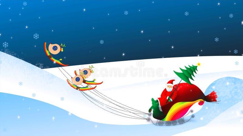圣诞节在雪橇例证的圣诞老人骑马 皇族释放例证
