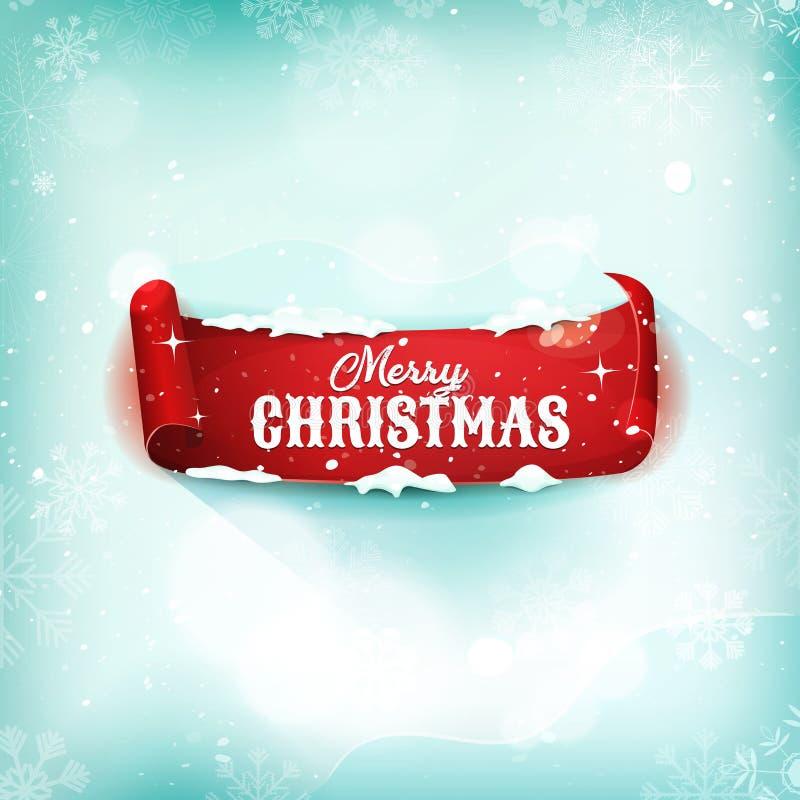 圣诞节在雪背景的羊皮纸纸卷 向量例证