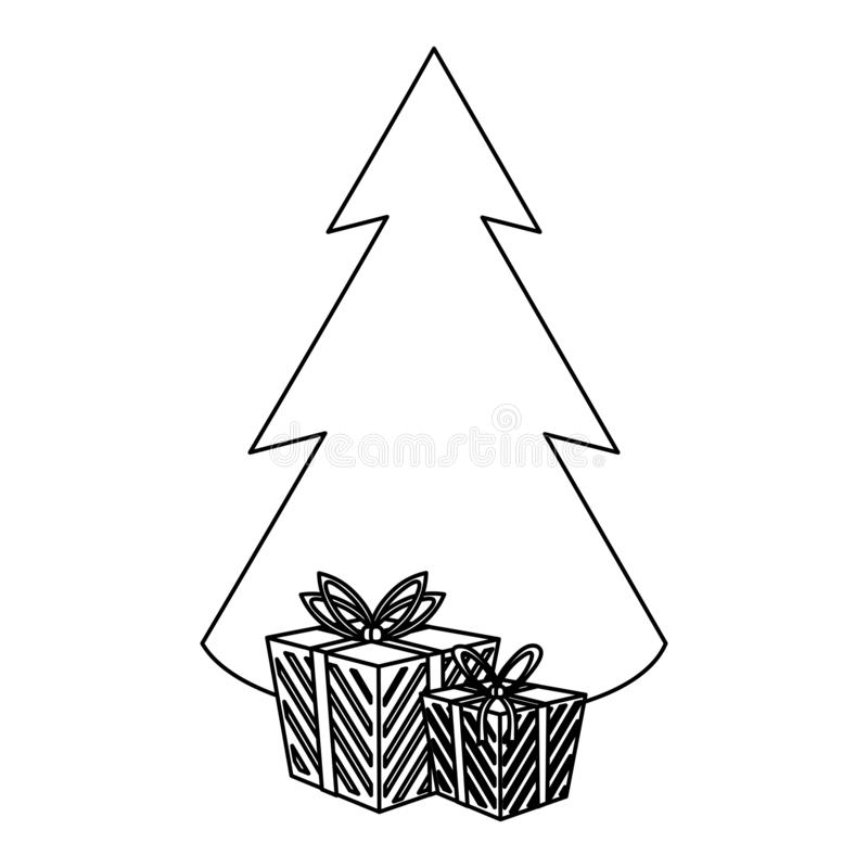 圣诞节在黑白的季节动画片 库存例证