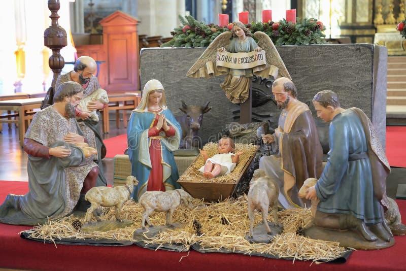 圣诞节在Onze辛迪里夫Vrouw在deDijlekerk的饲槽场面 免版税库存照片