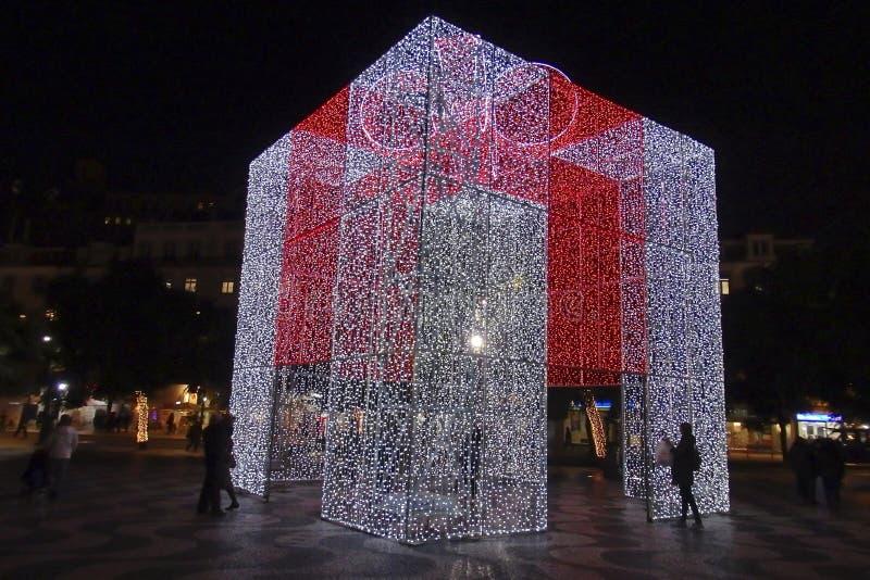 圣诞节在Rossio里斯本葡萄牙 免版税库存照片