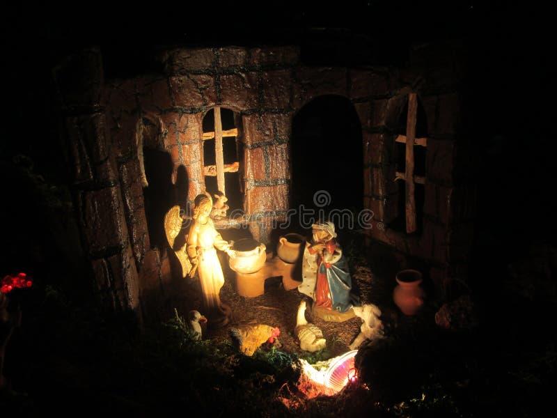 圣诞节场面-纳西缅托 免版税库存图片