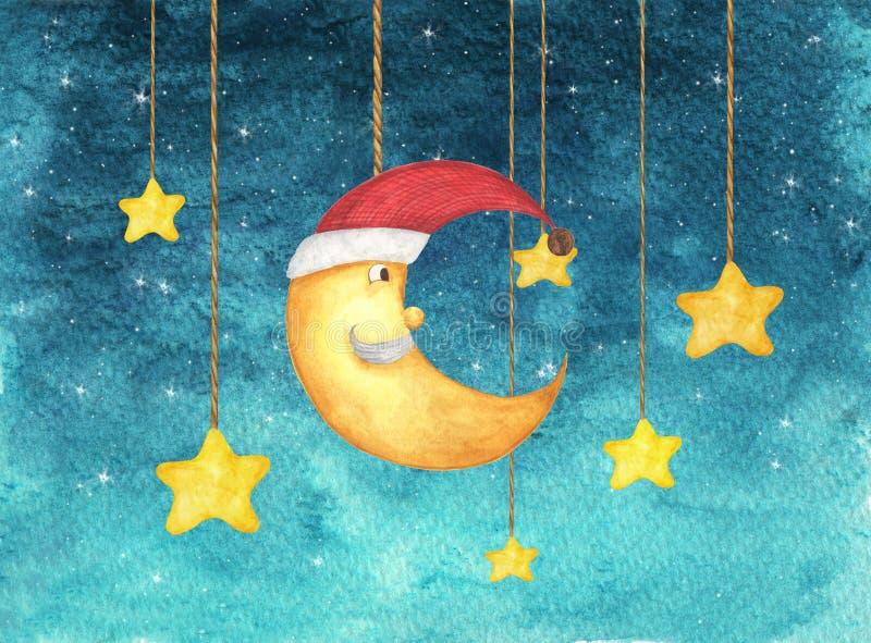 圣诞节垂悬从串的甲晕面孔和星绘在水彩 向量例证