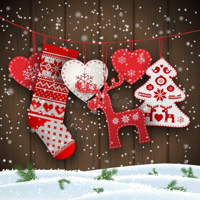 圣诞节垂悬在棕色木墙壁,例证前面的民间传说装饰 皇族释放例证