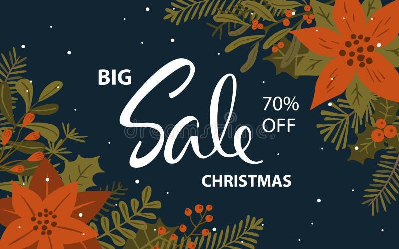 圣诞节增进销售横幅有xmas叶子花枝杈莓果背景 库存照片