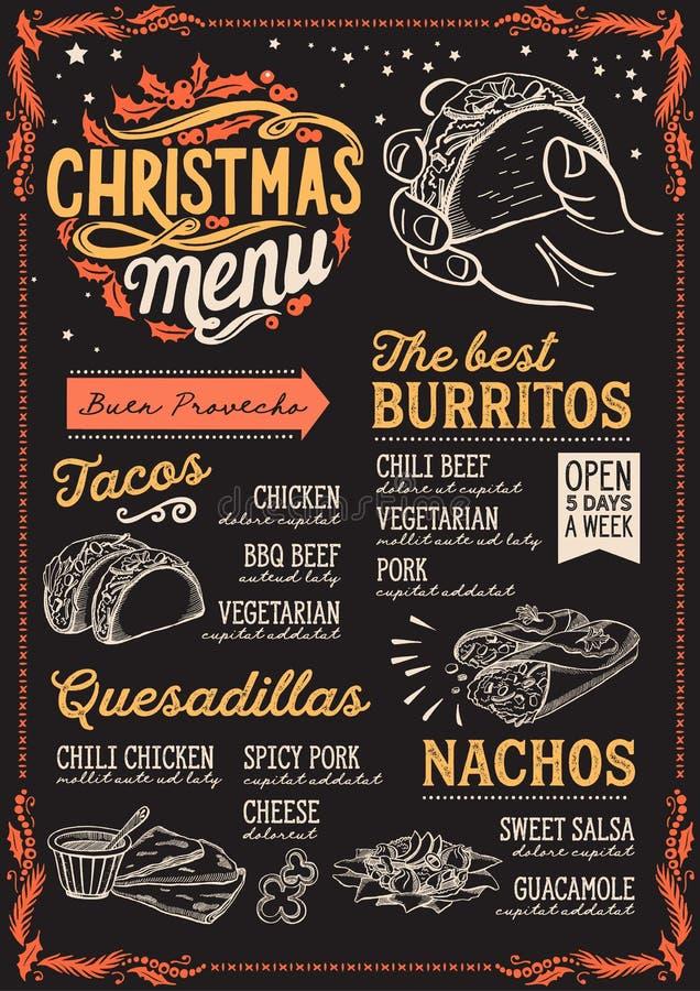 圣诞节墨西哥餐馆的菜单模板 向量例证
