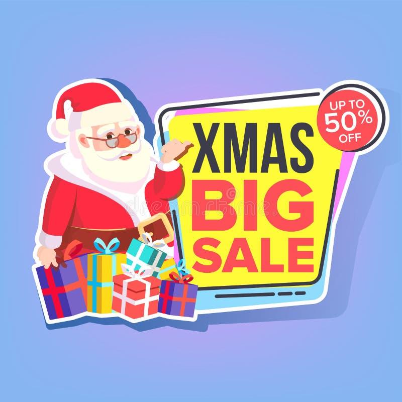 圣诞节大销售贴纸传染媒介 克劳斯・圣诞老人 模板小册子 特价优待模板 季节性黑的星期五 向量例证