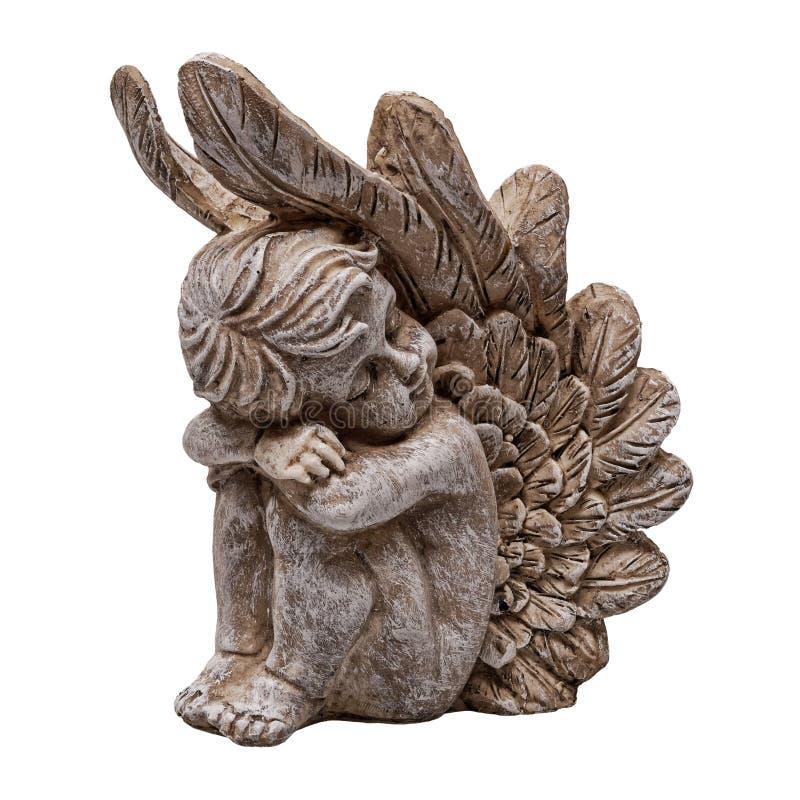 圣诞节天使在白色背景的小雕象装饰 免版税库存图片