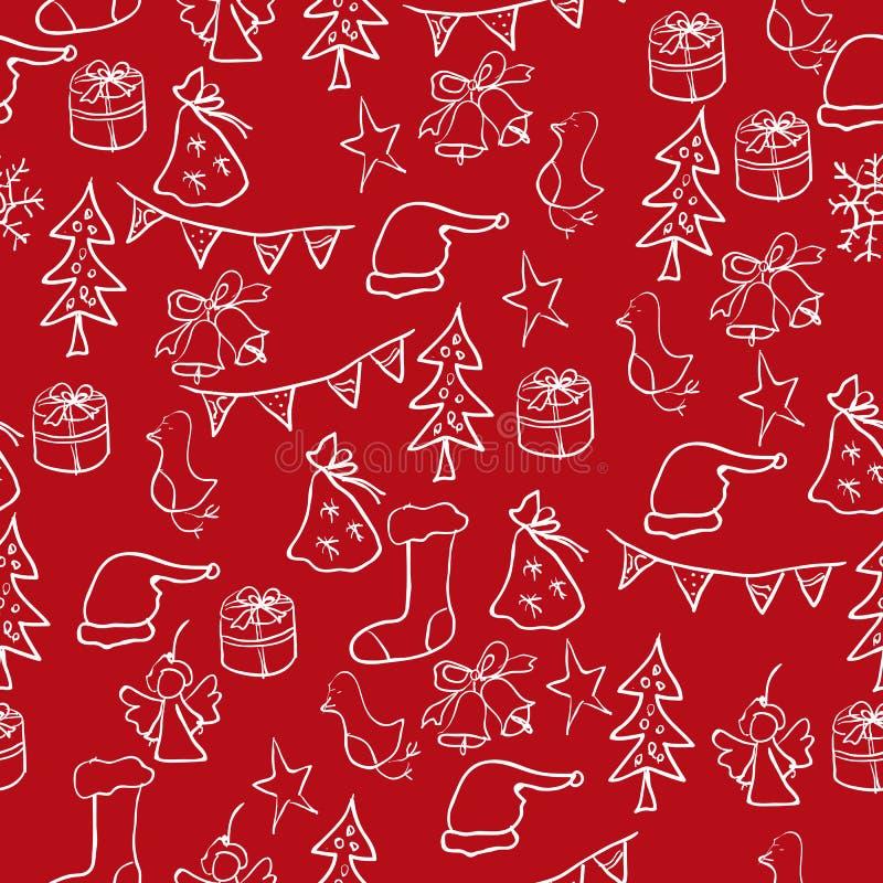 圣诞节套图片:星,树,玩具,响铃,雪人, M 向量例证