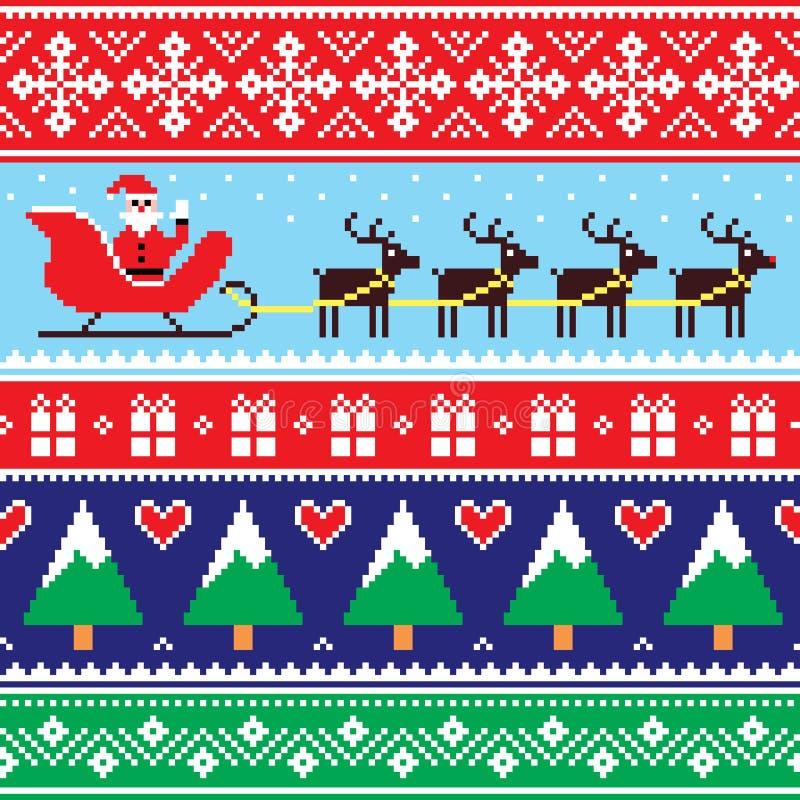 圣诞节套头衫或毛线衣无缝的样式与圣诞老人和驯鹿 皇族释放例证