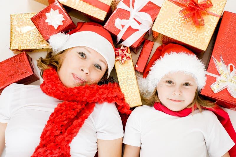 圣诞节女儿愉快的母亲存在 库存照片