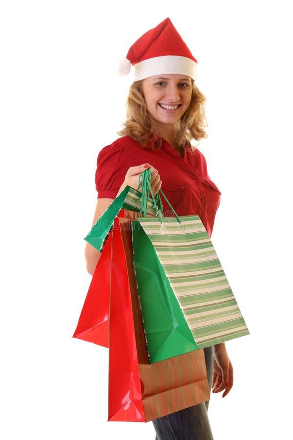 圣诞节女孩圣诞老人主题 免版税图库摄影