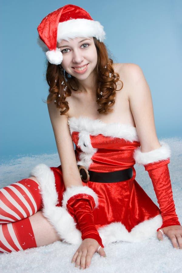 圣诞节女孩圣诞老人 免版税库存照片