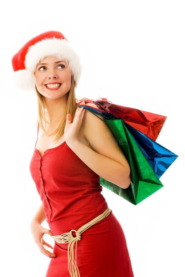 圣诞节女孩存在 免版税图库摄影