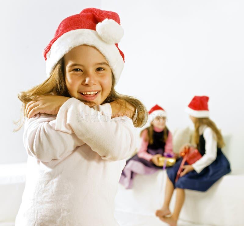圣诞节女孩帽子一点 免版税库存图片