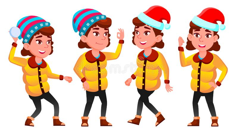 圣诞节女孩摆在集合传染媒介 冬天 Neww年 对介绍,印刷品,邀请设计 被隔绝的动画片 库存例证