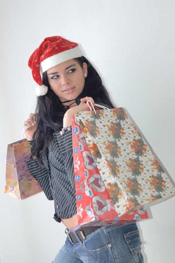 圣诞节女孩购物 免版税库存照片