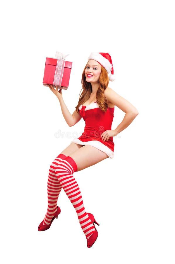 圣诞节女孩pinup 免版税库存照片