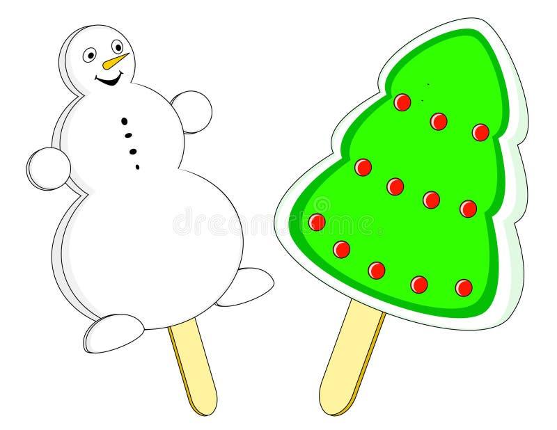 圣诞节奶油色冰 向量例证