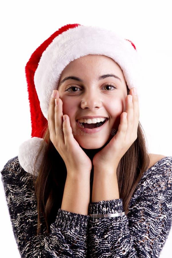 圣诞节妇女惊奇 图库摄影