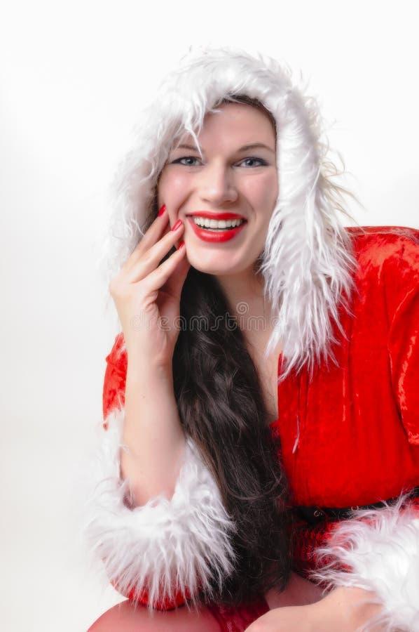 圣诞节妇女画象 免版税库存图片