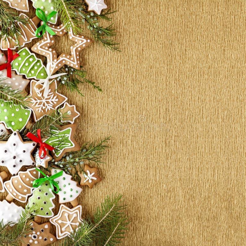 圣诞节姜曲奇饼背景 库存图片