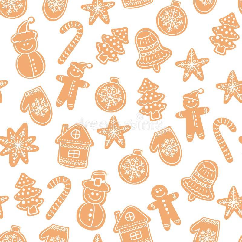 圣诞节姜饼曲奇饼无缝的传染媒介样式 假日手拉的背景用糖涂层饼干 库存例证