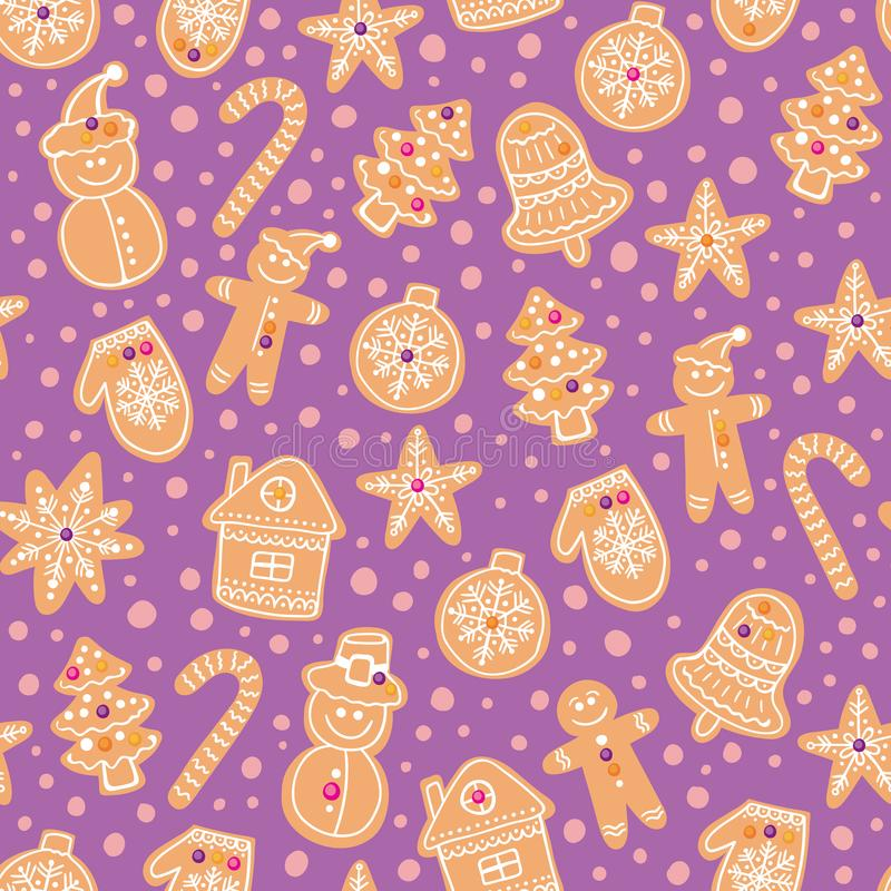 圣诞节姜饼曲奇饼无缝的传染媒介样式 假日紫色手拉的背景用糖涂层饼干 库存例证