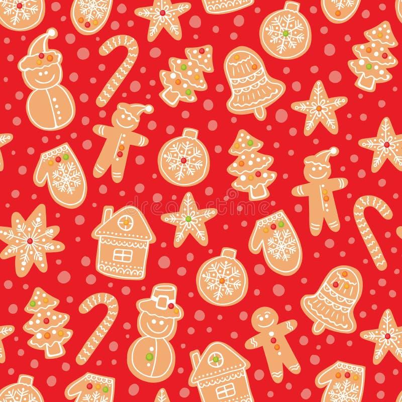 圣诞节姜饼曲奇饼无缝的传染媒介样式 假日红色手拉的背景用糖涂层饼干 皇族释放例证