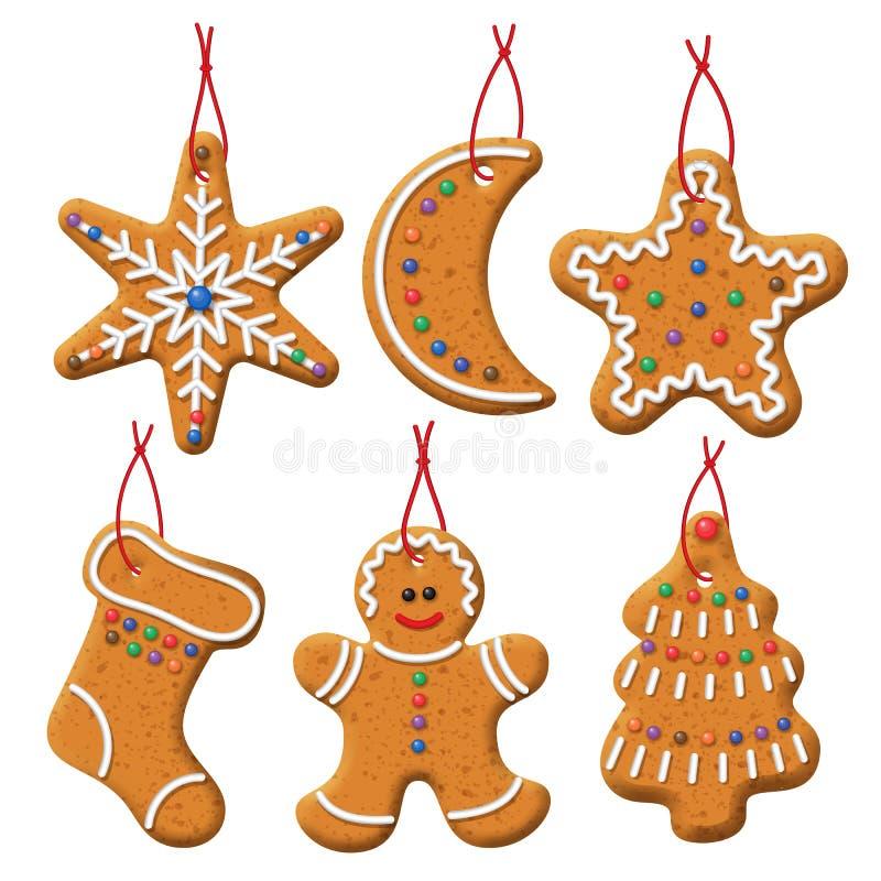 圣诞节姜饼集合 皇族释放例证