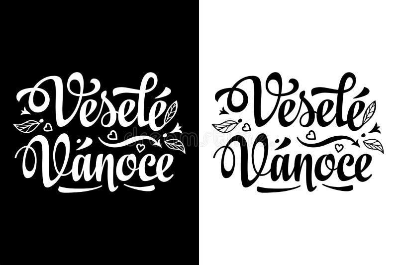 圣诞节字法 Vesele Vanoce 在捷克语语言的圣诞卡 皇族释放例证