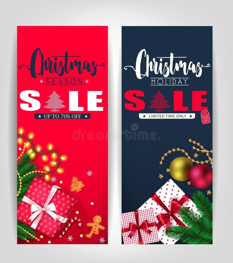 圣诞节季节和假日销售海报或标记设计集合 向量例证