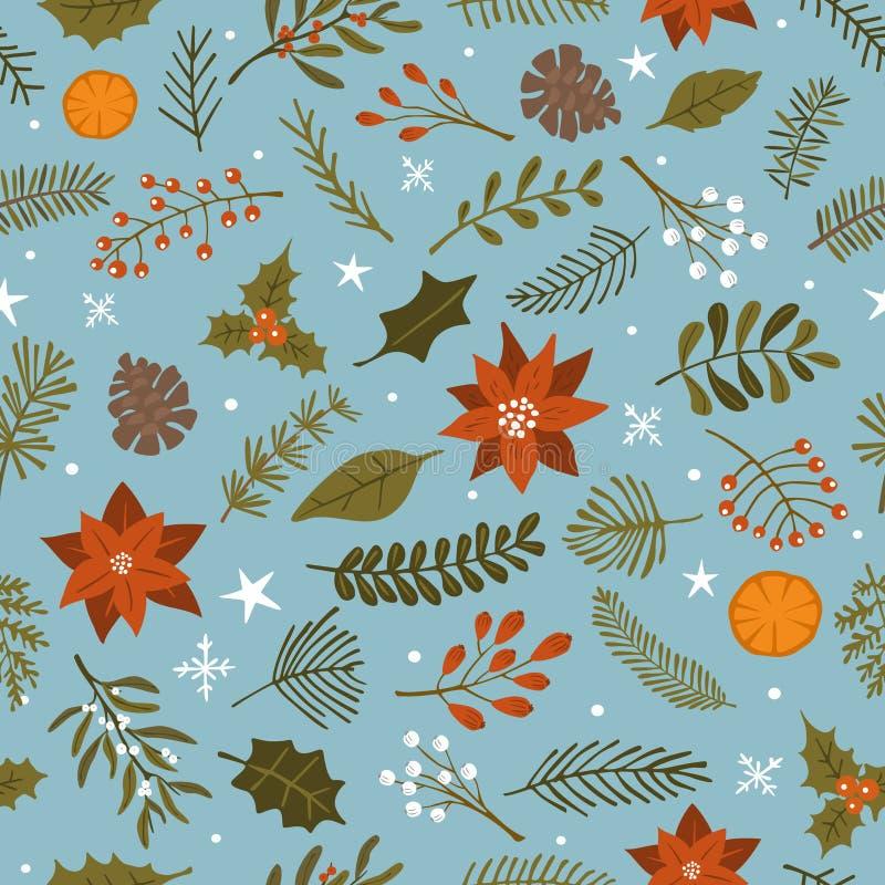 圣诞节季节性叶子花枝杈和分支、星和雪花无缝的样式纹理背景 免版税库存照片