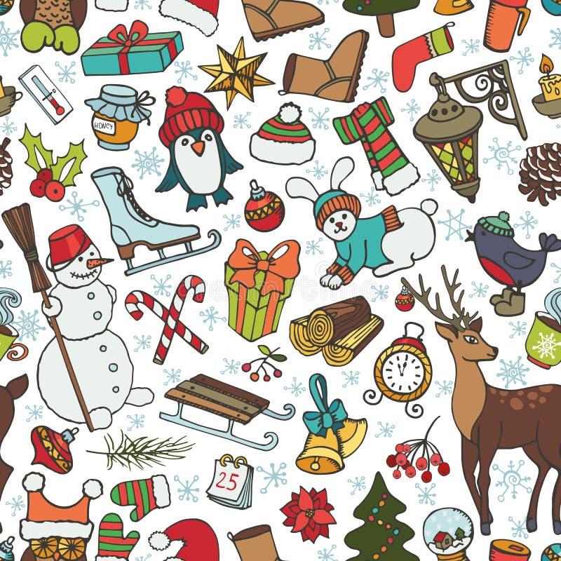 圣诞节季节 在无缝的样式的乱画标志 向量例证
