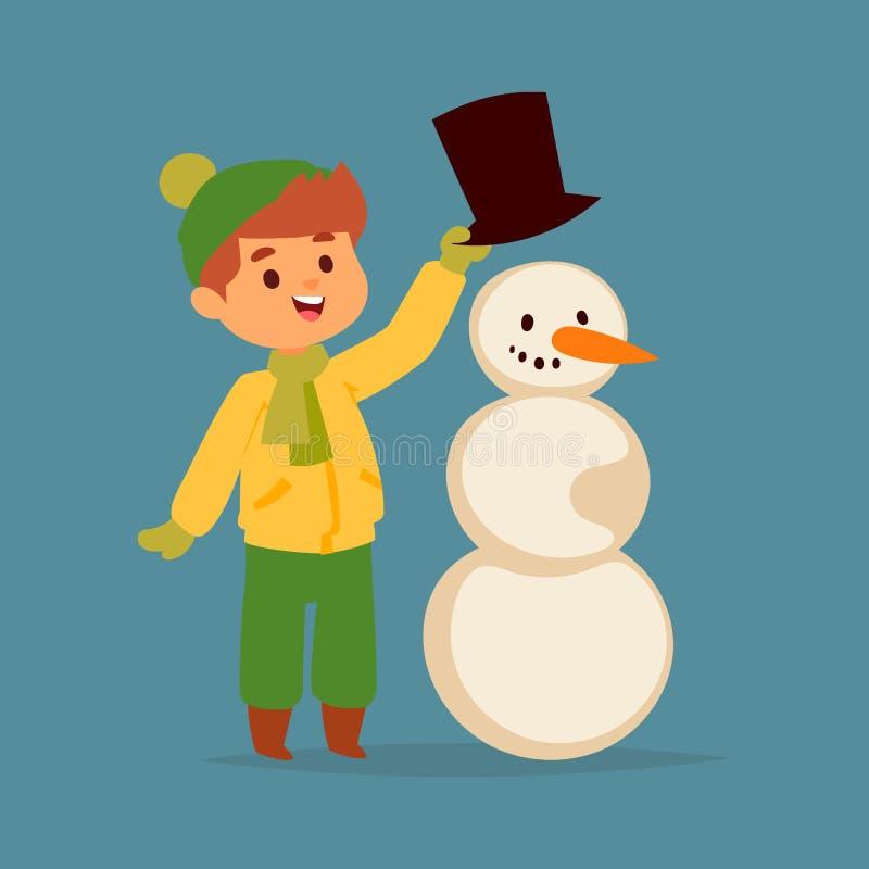 圣诞节孩子男孩演奏冬天比赛冬天儿童假日圣诞节雪人动画片新年xmas的传染媒介字符 皇族释放例证