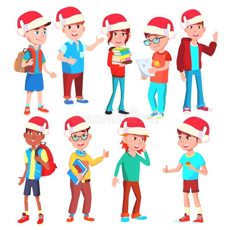 圣诞节孩子被设置的传染媒介 圣诞老人帽子 艺术男孩夹子女孩 12月 被隔绝的动画片例证 库存例证