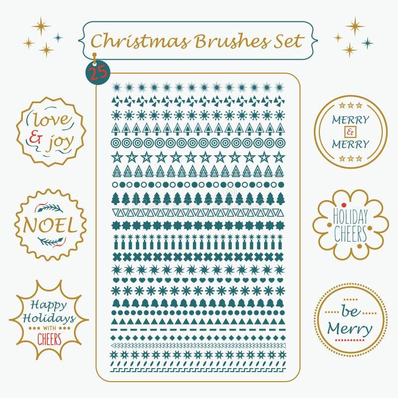 圣诞节定制的刷子和线被设置的假日标记 皇族释放例证