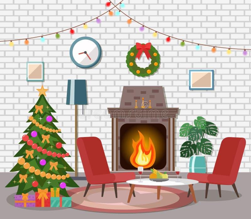 圣诞节客厅内部 向量例证
