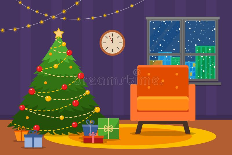 圣诞节室内部 与扶手椅子的圣诞树 平的样式传染媒介例证 皇族释放例证