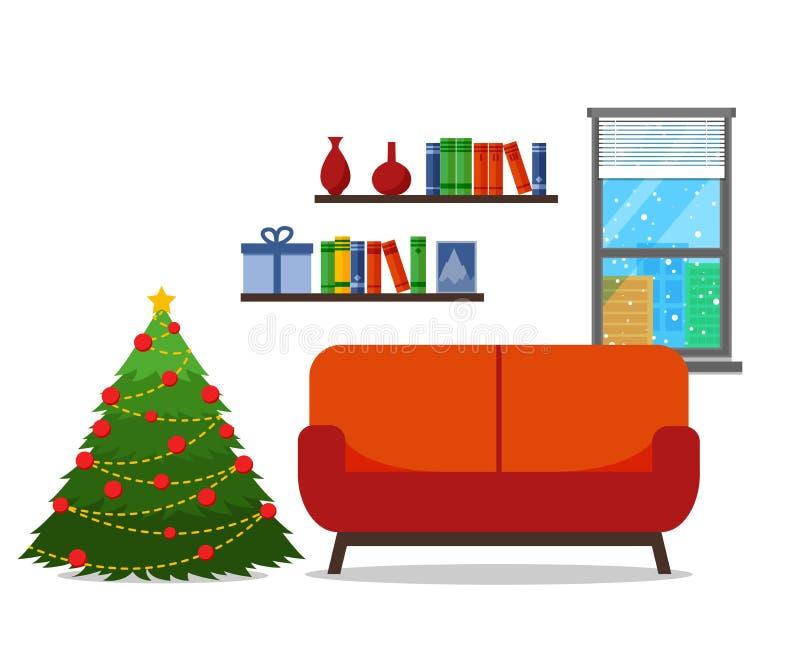 圣诞节室内部 与沙发的圣诞树 平的样式传染媒介例证 皇族释放例证