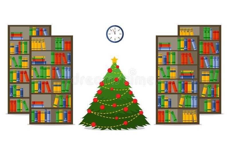 圣诞节室内部 圣诞节treein图书馆,平的样式传染媒介例证 皇族释放例证