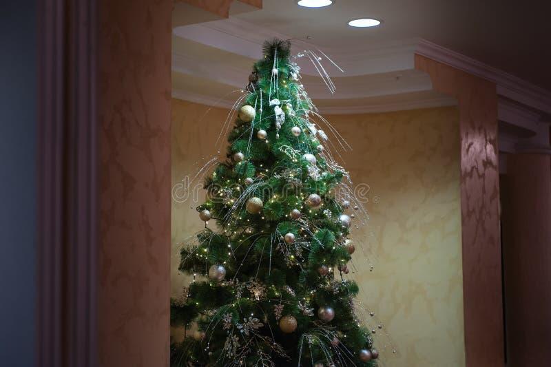 圣诞节室室内设计,光礼物礼物玩具装饰的Xmas树 库存照片