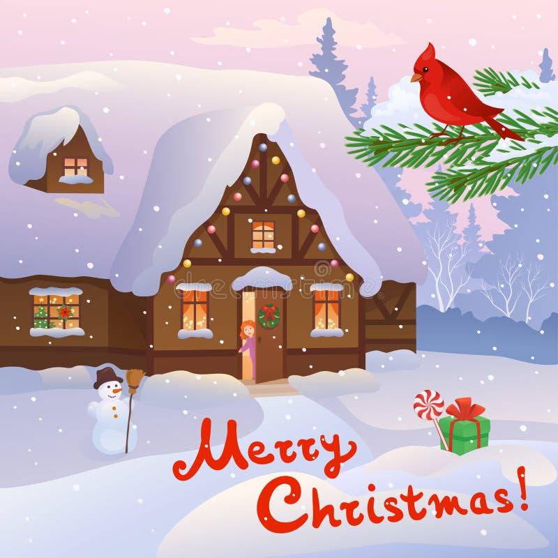 圣诞节家庭场面 库存例证
