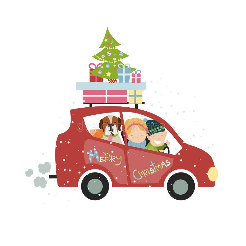 圣诞节家庭旅行 库存例证
