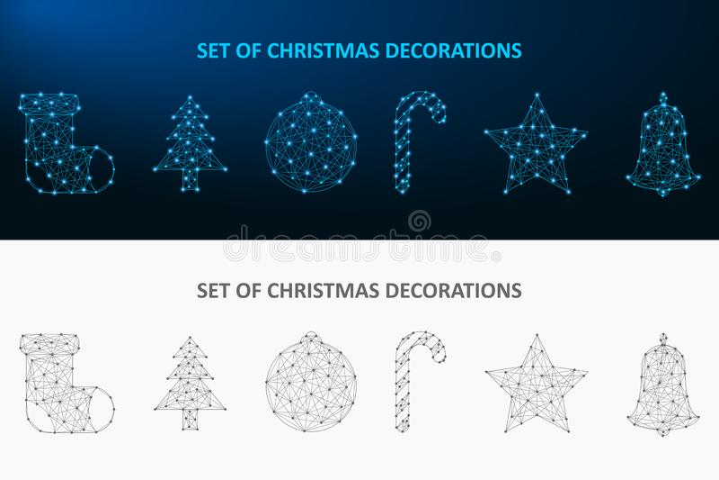 圣诞节小点和线做的装饰集合 低多假日装饰多角形wireframe滤网 向量 库存例证