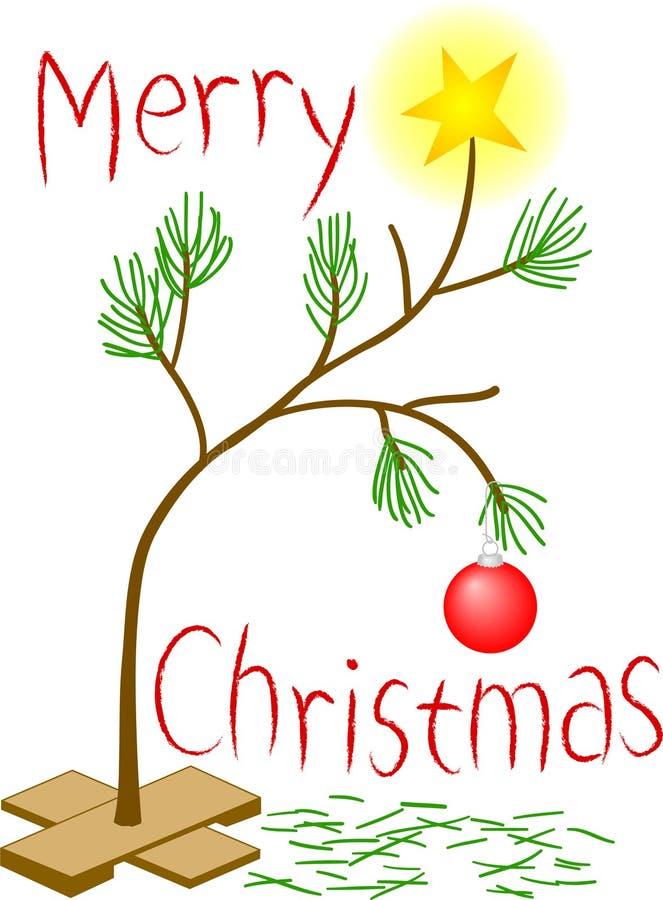 圣诞节少许哀伤的结构树 库存例证