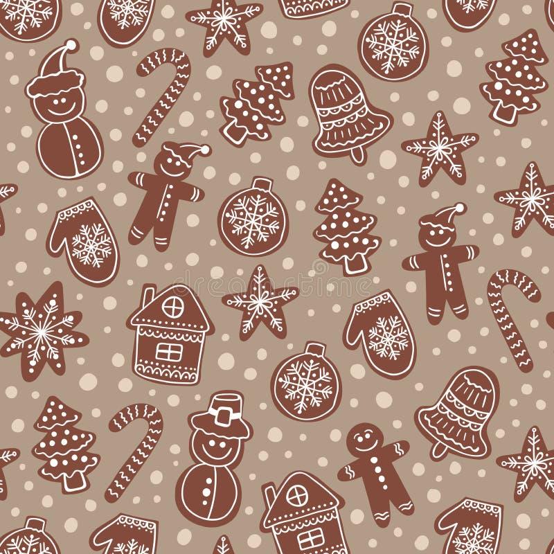 圣诞节巧克力曲奇饼无缝的传染媒介样式 假日米黄手拉的背景用糖涂层饼干 库存例证