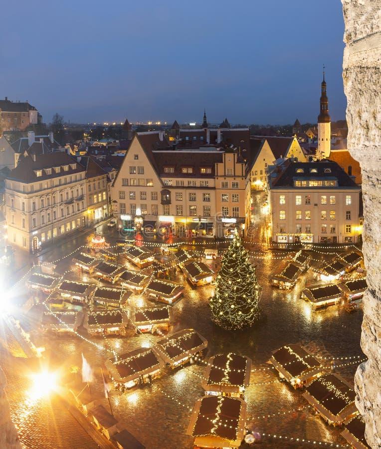圣诞节市场在塔林,爱沙尼亚 免版税库存图片