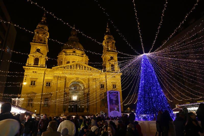 圣诞节市场在布达佩斯,匈牙利, 2015年 库存照片