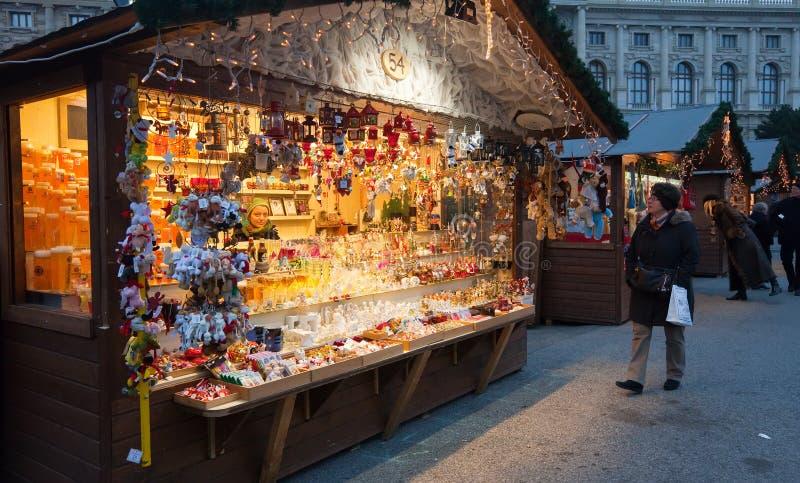 圣诞节市场在维也纳,奥地利 免版税图库摄影